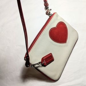 Coach Bags - Coach change purse white red heart leather